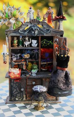 19th Day Miniatures Works in Progress: Updated photographs-New Dollhouse Miniature Witch Sewing Cabinet :)