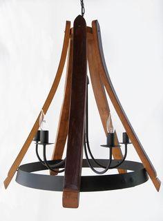 Wine Barrel Chandelier, Wine Barrel Crafts, Whiskey Barrel Furniture, Ceiling Lamp, Ceiling Lights, Barris, Barrel Projects, Diy Pendant Light, Pendant Lighting