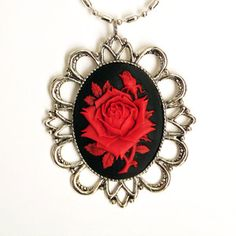 Miss Atomic rose cameo necklace.