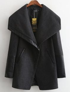 #fashion #accessories Street Fold-Over Collar PU Panel Wool Coat in Black   Black by Moda Tendone - WoolCoat Black, Clothes, Fashionable, Women, WoolCoat