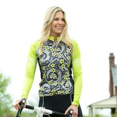 I'm not a huge fan of hi viz but i love the lace design on the sleeves --> YMX Women's Long Sleeve Cycling Jersey | Terry Bicycles
