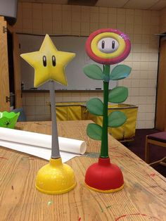 How 'bout trophies for a Mario Kart Tournament? These hand-made #plunger trophies were made by Pitt-Greensburg CA, Eugene Olaiya #reslife #mariokart