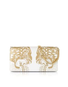 Roberto Cavalli Juno Small Tiger Printed Leather Cluth at FORZIERI