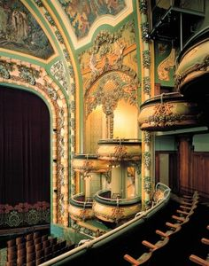 """The New Amsterdam on West 42nd Street, designed by Henry Herts and Hugh Tallant in 1903 as one of the first buildings with an Art Nouveau interior in the US, and renovated by Disney nearly a century later, is """"either one of the most gorgeous or one of the gaudiest theaters"""" on Broadway, said recommender Geoffrey Greene."""