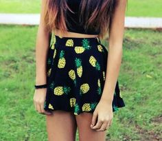 pineapple skirt + black top! :D Must have for any girl with style!