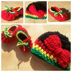 Rasta crochet set Crochet Beanie Hat, Crochet Baby Booties, Crochet Shoes, Crochet Clothes, Loom Knitting, Baby Knitting, Rasta Tattoo, Dread Wraps, Crochet Projects