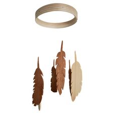 Feather Mobile - Wooden Mobile - Wood Feather Mobile - Nursery Mobile. this would be super cute painted as well. I think I'll attempt to make it.