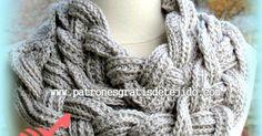Cuello o bufanda de 2 trenzas de 4 hebras, tejido a crochet con explicación detallada en español y en inglés