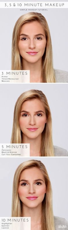 3, 5 & 10 Minute #Makeup #Tutorial - 12 Easy No Makeup, Makeup Look Tutorials | GleamItUp