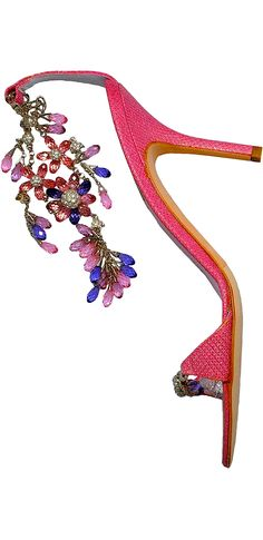 Rene' Caovilla ~ Hot Pink Summer Leather Sandal w Embellishments, 2015