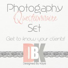 Photography Questionnaire Set Photography by DesignedByKaye, $15.00 Photography Branding