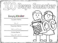 Colorable certificates for 100th Day! (Saving money on ink is the name of the game!) Simply Kinder