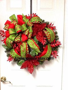 Hey, I found this really awesome Etsy listing at http://www.etsy.com/listing/171129751/bright-gorgeous-christmas-wreath-red-and