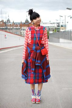 (Vintage Pendleton dress, vintage Neil Barrett leather jacket, Monki red checked shirt, Mundi cardigan wrapped around waist, Jaeger Boutique bag, Ayame socks, Tsumori Chisato shoes)