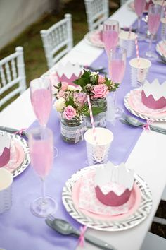 Partyware and bouquet centerpieces from an Elegant Purple Princess Birthday Party at Kara's Party Ideas.