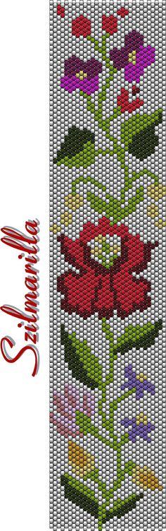Szilmarilla kalocsai mintája...Use larger beads to make a wall hanging or banner...
