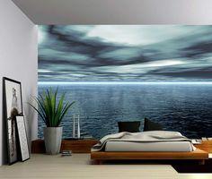 Blue Ocean Horizon gran Mural de la pared etiqueta de la