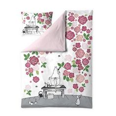 Moominmamma Rosegarden satin duvet cover set 150 x 210 cm by Finlayson
