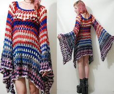 CROCHET DRESS Vintage Colourful Granny Square Bell von cruxandcrow