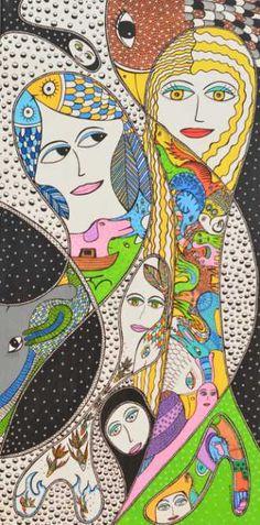 Kunstsamlingen | Artist: Barbara Kaad Ostenfeld | Title: Ingen titel | Height: 80cm,  Width: 40cm | Find it at kunstsamlingen.com #kunstsamlingen #kunst #artcollection #art #painting #maleri #galleri #gallery #onlinegallery #onlinegalleri #kunstner #artist #danishartists #bakaos