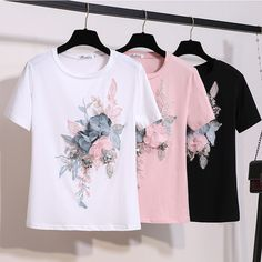 2019 New Runway Summer Stylish Fashion Short Sleeve Embroidery Appliques 3 D Flowers Tops And Tees Female White Pink T Shirt Painted Clothes, 3d Prints, T Shirts For Women, Clothes For Women, Look Fashion, Fashion Brand, Diy Clothes, Stylish Outfits, Ideias Fashion