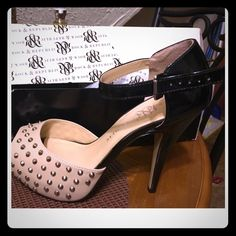 Shoes worn once Rock and Republic (Beige and patent leather with silver spikes) Rock & Republic Shoes Heels