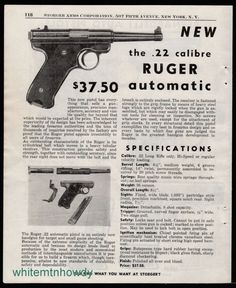 1951 RUGER .22 Automatic Pistol w/ specs Print AD Vintage Gun Advertising