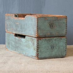 So into this design on Fab! Old Wooden Boxes, Old Boxes, Vintage Tools, Vintage Box, Pallette, Wood Crates, Paint Cans, Painted Furniture, Decoration