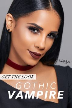 Go gothic this Halloween with this sultry Vampire makeup look. • Get the look with Infallible 24HR eyeshadow in Smoldering Plum + Bronzed Taupe, Infallible Pro-Matte Liquid Lipstick in Roseblood, Infallible The Super Slim Liquid Eyeliner in Black, & Voluminous mascara in Black