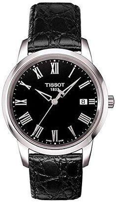 6f3346c0d6c Tissot Classic Dream Men s Quartz Black Dial Silver Roman Watch with Black  Leather Strap 225
