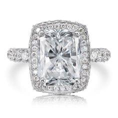 Forever One Moissanite Engagement Ring 10x8mm Radiant Cut