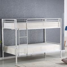 Twin bunk bed metal over modern steel beds frame with ladder adult children bedroom dorm furniture Twin Bunk Beds, Kids Bunk Beds, Den Furniture, Kids Bedroom Furniture, Furniture Styles, Attic Bed, Steel Bed Frame, Bedding Inspiration