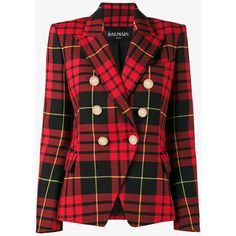 Balmain Cropped tartan blazer (€1.205) ❤ liked on Polyvore featuring outerwear, jackets, blazers, coats, red, wool blazer, red wool blazer, balmain blazer, red double breasted blazer and red jacket