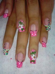 uñas Cute Nail Art, Cute Nails, Pretty Nails, Fabulous Nails, Gorgeous Nails, French Nails, Spring Nails, Summer Nails, Hair And Nails