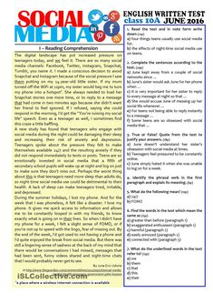 SOCIAL MEDIA - grade test worksheet - Free ESL printable worksheets made by teachers Reading Skills, Writing Skills, Teaching Reading, English Words, English Lessons, Learn English, Reading Comprehension Worksheets, Reading Passages, Teaching English Grammar