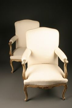 Pair of late 19th century French polychrome Louis XV style armchairs, circa 1890. #antique #chairs