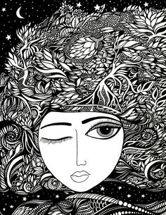 Dallas artist and illustrator specializing in intricate, black and white ink drawings inspired by nature, anatomy, unconventional beauty, and multicultural themes. Fairy Coloring, Adult Coloring Pages, Coloring Books, Colouring, Low Poly, Doodle Pages, Art Impressions, Adam And Eve, Flowers In Hair