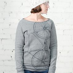 Medium - Fixie Bike- women's fleece sweatshirt, charcoal on heather gray. $45.00, via Etsy.