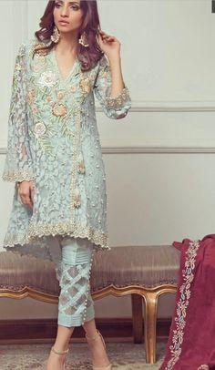 Luxury Elmas 3 piece Organza and Silk Pakistani Designer Trajes Pakistani, Pakistani Formal Dresses, Pakistani Fashion Casual, Pakistani Salwar Kameez, Pakistani Outfits, Indian Dresses, Indian Outfits, Indian Fashion, Ladies Salwar Kameez