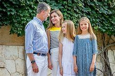 King Felipe of Spain, Queen Letizia of Spain, Princess Leonor of Spain and Princess Sofia of Spain attend the summer photocall on July 31, 2017 in Palma de Mallorca, Spain.