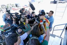 At-track photos: Phoenix weekend  Sunday, March 19, 2017  Joey Logano, driver of the No. 22 Shell Pennzoil Ford, talks with the media after exiting the NASCAR hauler before practice for the Monster Energy NASCAR Cup Series Camping World 500 at Phoenix Raceway on March 17, 2017 in Avondale, Arizona.  Photo Credit: Getty Images  Photo: 49 / 62