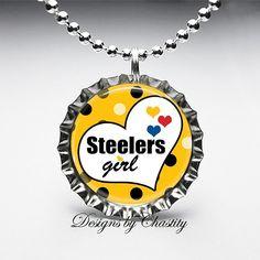 Steeler Girl Bottle Cap Pendant Necklace by DesignsbyChastity, $6.45