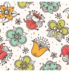 Seamless floral pattern vector by evdakovka on VectorStock®