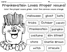Frankenstein Loves Proper Nouns freebie: Swimming Into Second