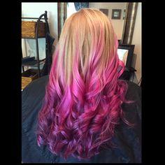 Blonde-pink-purple Ombré