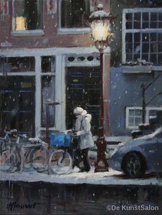 Richard van Mensvoort | Winteravond | Oil on canvas | 40 x 30 cm
