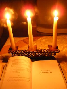 I was reading at candle-light