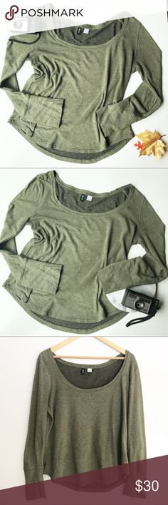 "Urban Outfitters BDG Heathered Green Top Large Super cozy, slightly oversized scoop neck top by BDG for Urban Outfitters. Heathered olive green, so versatile! Gently pre-owned, no flaws. Size Large. Underarm to underarm: 22"" Length: 24"" (Inventory O17) Urban Outfitters Tops"