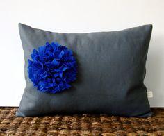 Monaco Blue Felt Flower PILLOW COVER in Gray Linen by JillianReneDecor
