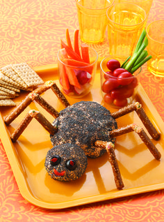 An easy and spooky cheese ball that your Halloween guests will love!